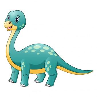 Feliz brontosaurio aislado en blanco