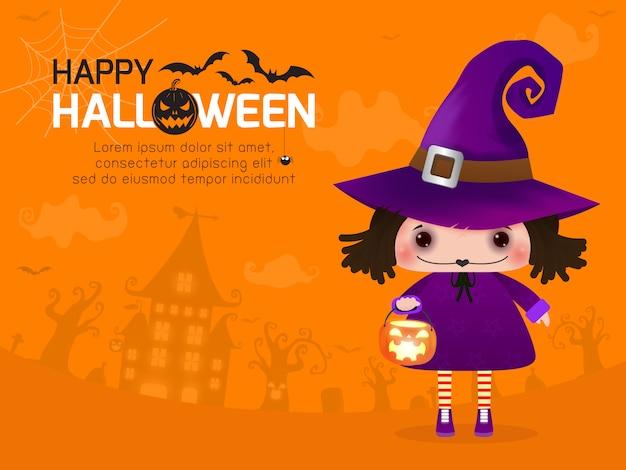 Feliz bruja de halloween linda chica y calabaza, plantilla de texto para tarjeta de felicitación