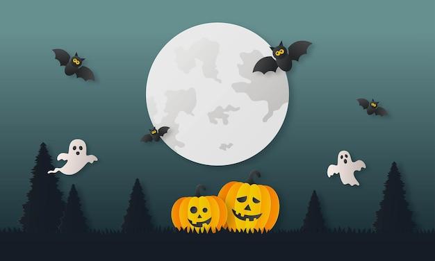 Feliz calabaza de halloween con fantasmas y estilo de arte de papel de murciélago sobre fondo de medianoche