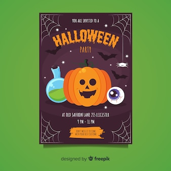 Feliz calabaza con telaraña fiesta de halloween flyer