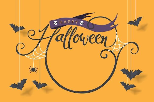 Feliz caligrafía de halloween con murciélagos de papel volando.