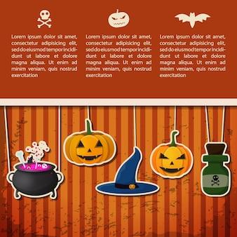 Feliz cartel de felicitación de halloween con texto y papel colgando calabazas sombrero de bruja caldero botella de veneno