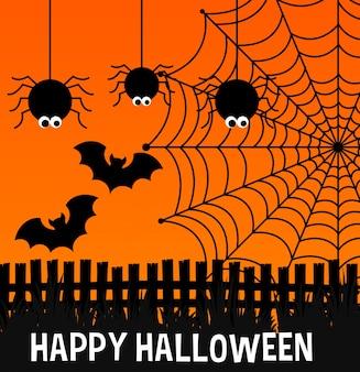 Feliz cartel de halloween con arañas y web