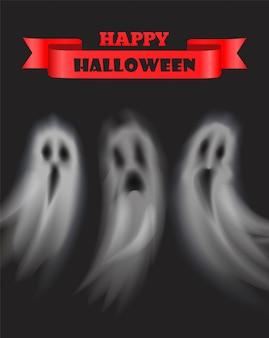 Feliz cartel de halloween con texto y fantasmas