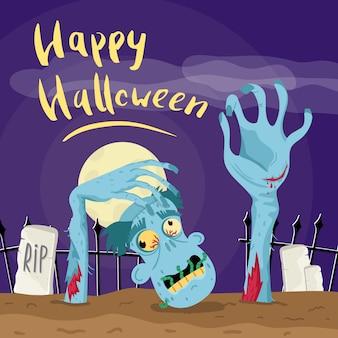 Feliz cartel de halloween con zombie en cementerio