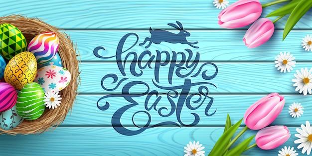Feliz cartel de pascua y plantilla con huevos de pascua en el nido y flores en la mesa de madera