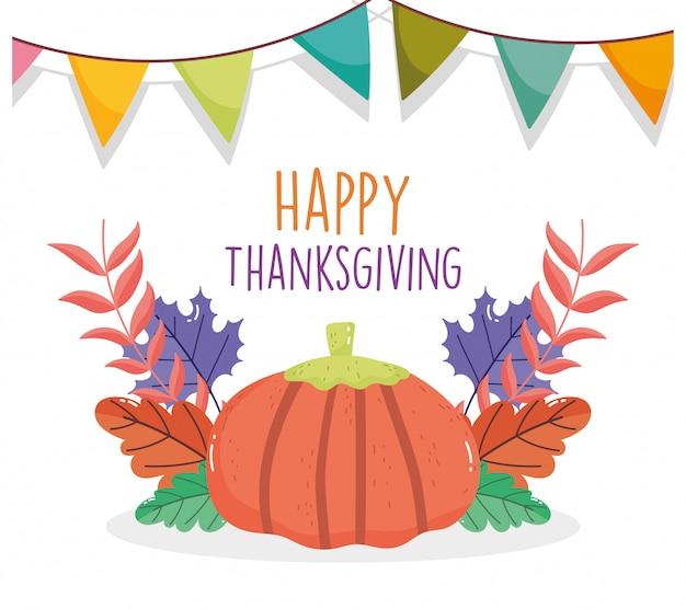 Feliz celebración de acción de gracias banderines de calabaza follaje otoño
