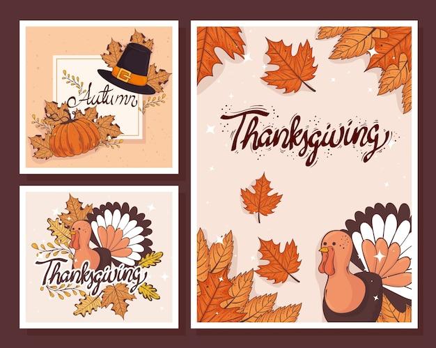 Feliz celebración de acción de gracias tarjeta de letras con diseño de ilustración de plantillas