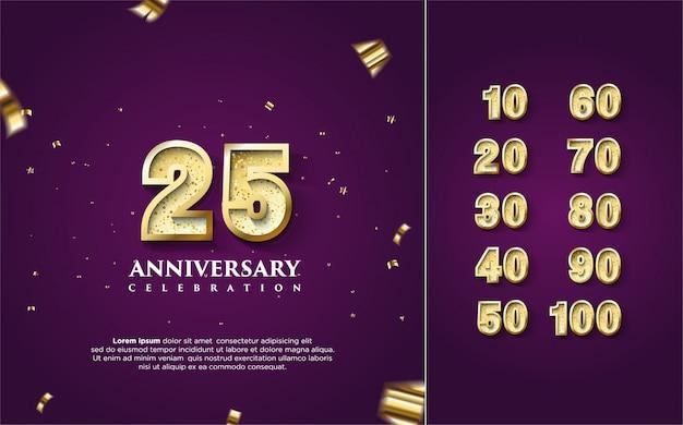 Feliz celebración de aniversario en oro con varios conjuntos de números del 10 al 100.