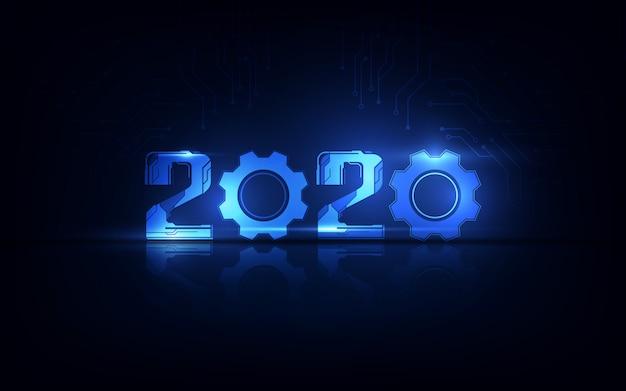 Feliz celebración de año nuevo 2020 con fondo de tecnología futurista, concepto de cuenta regresiva