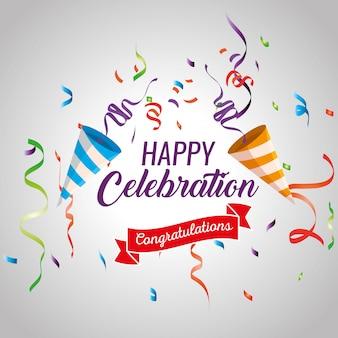Feliz celebración con decoración de confeti y cinta