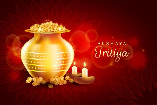 Feliz celebración del día de akshaya tritiya y monedas de oro