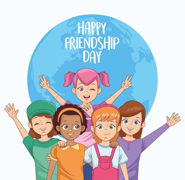 Feliz celebración del día de la amistad con un grupo de chicas