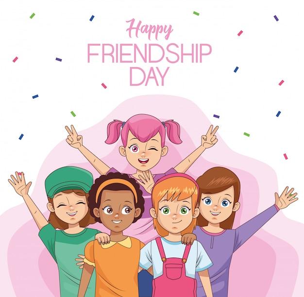 Feliz celebración del día de la amistad con un grupo de niños y confeti