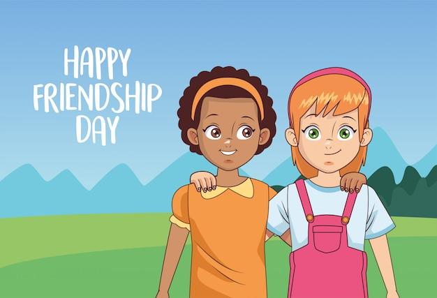 Feliz celebración del día de la amistad con pareja de chicas