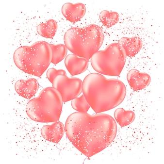 Feliz celebración del día de san valentín. globo de corazón y confeti