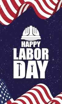 Feliz celebración del día del trabajo con bandera de estados unidos y casco
