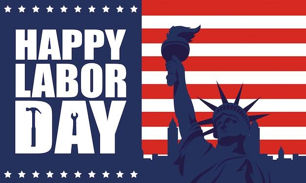 Feliz celebración del día del trabajo con la bandera de estados unidos y la estatua de la libertad
