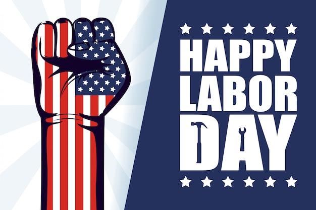 Feliz celebración del día del trabajo con la bandera de estados unidos y el puño de la mano