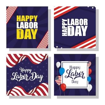 Feliz celebración del día del trabajo con banderas de estados unidos e iconos de conjunto