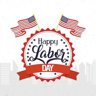Feliz celebración del día del trabajo con banderas de estados unidos en emblema