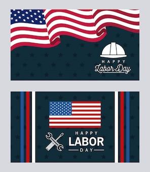 Feliz celebración del día del trabajo con banderas de estados unidos