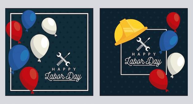 Feliz celebración del día del trabajo con casco y globos flotantes de helio
