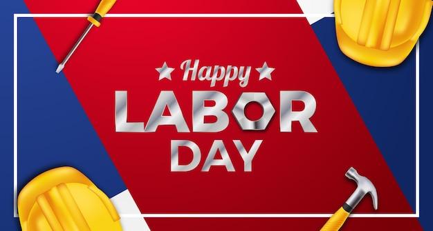 Feliz celebración del día del trabajo con casco de seguridad amarillo 3d, llave, martillo, destornillador