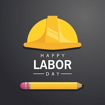 Feliz celebración del día del trabajo con casco y suministro de lápiz