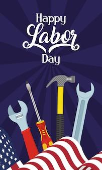 Feliz celebración del día del trabajo con herramientas y bandera de estados unidos