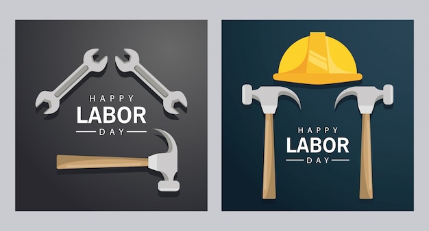 Feliz celebración del día del trabajo con martillos y llave de casco