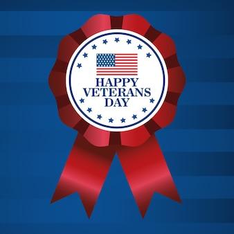 Feliz celebración del día de los veteranos con letras y bandera en diseño de ilustración de vector de medalla