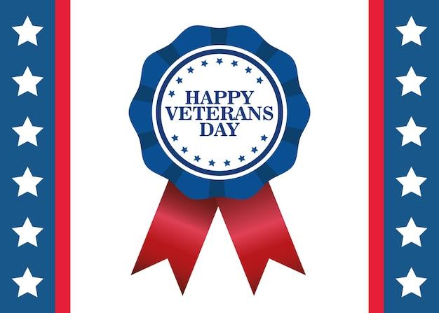 Feliz celebración del día de los veteranos con letras en diseño de ilustración de vector de medalla
