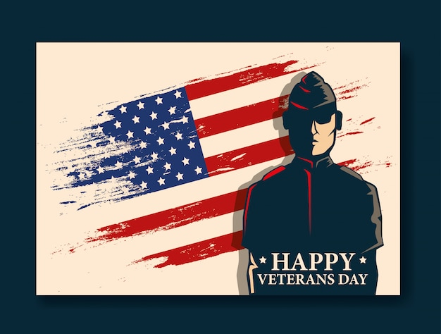 Feliz celebración del día de los veteranos con militares y bandera