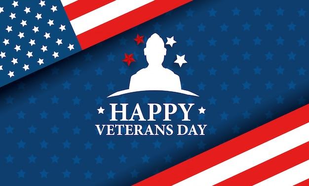 Feliz celebración del día de los veteranos con silueta militar y bandera