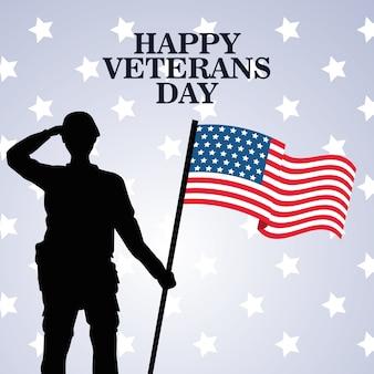 Feliz celebración del día de los veteranos con el soldado saludando levantando la bandera de estados unidos, diseño de ilustraciones vectoriales