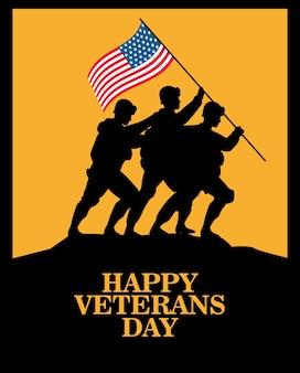 Feliz celebración del día de los veteranos con soldados levantando la bandera de estados unidos en la silueta del poste, diseño de ilustraciones vectoriales