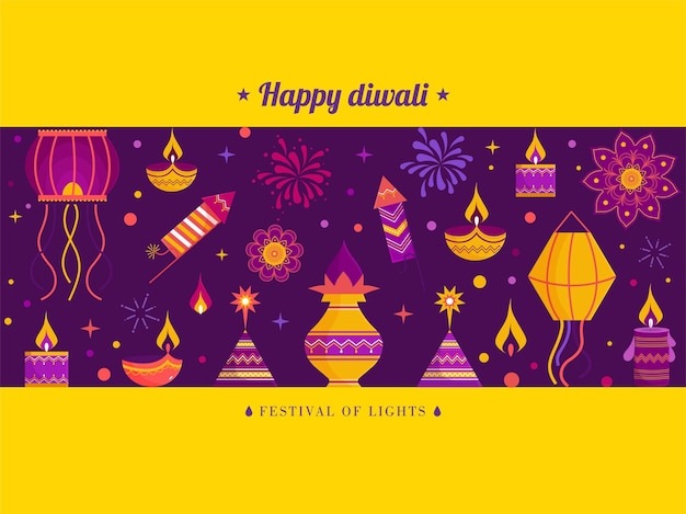 Feliz celebración de diwali, tarjeta