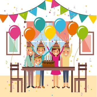 Feliz celebración de la familia fiesta de decoración de la torta de cumpleaños