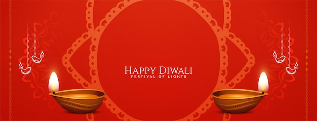 Feliz celebración del festival de diwali vector de diseño de banner de color rojo
