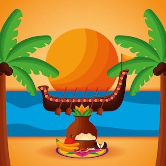 Feliz celebración del festival onam