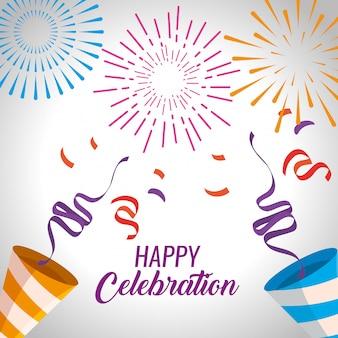 Feliz celebración con fuegos artificiales y decoración de confeti.