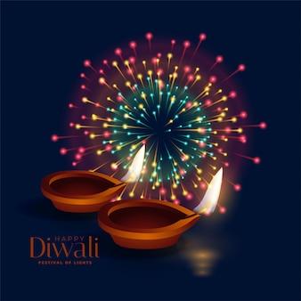 Feliz celebración de fuegos artificiales de diwali con lámpara diya
