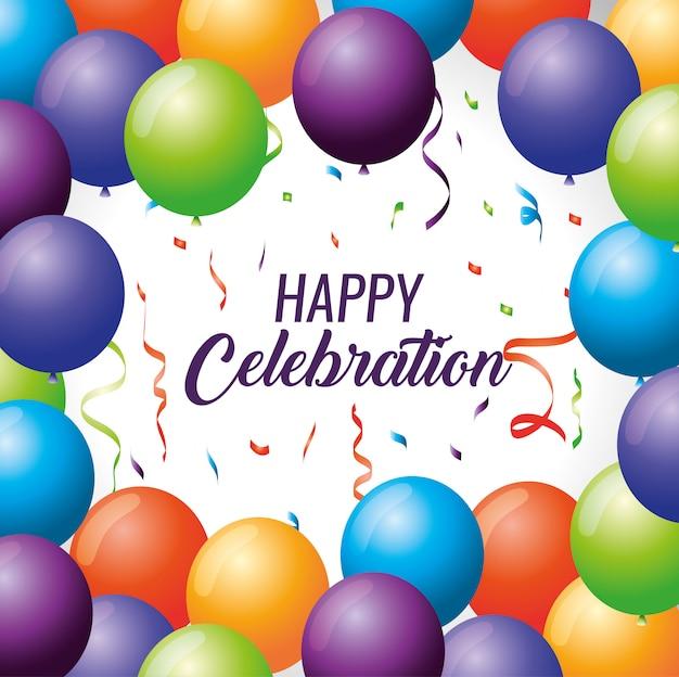 Feliz celebración con globos y decoración de confeti.