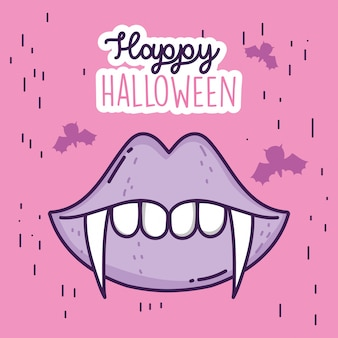 Feliz celebración de halloween boca dientes drácula