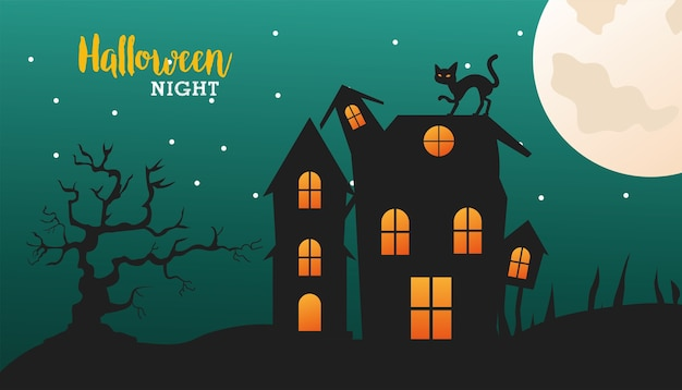 Feliz celebración de halloween con gato negro en la escena de la casa encantada, diseño de ilustraciones vectoriales