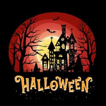 Feliz celebración de halloween con noche y castillo aterrador.