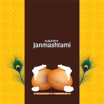 Feliz celebración de janmashtami saludo fondo