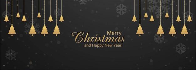 Feliz celebración de navidad y feliz año nuevo banner festival fondo