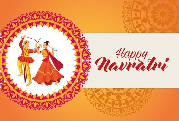 Feliz celebración navratri con bailarines en mandala, diseño de ilustraciones vectoriales